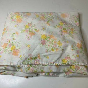 vintage twin fitted sheet white with pink orange b